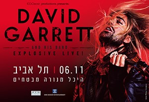 "DAVID GARRETT announces first ever date for his spectacular crossover program in Israel for November 2017A virtuoso and a maverick, DAVID GARRETT shines with a unique career asboth a classical and crossover performer. His relaxed brilliance andeclectic style has breathed new life into the classical music market, drawing in an exceptionally broad fan base ranging from thes ophisticated black-tie concert hall audience to the head-banging, hip-swaying, stadium rock loving teenagers. So far DAVID GARRETT has been mesmerizing his Israeli fans with his performances of classical music together with The Israel Philharmonic Orchestra. Before his next classical concerts in spring 2018, his fans will have the first chance toexperience his thrilling crossover program live in Tel Aviv this year already!With his impeccable musical instinct, DAVID GARRETT uncovers the underlying connections between classical compositions and rockanthems. ""Beethoven, Chopin, Liszt and Paganini were the rock musicians of their day and they went out of their way to delight themasses"" he says. ""Classical music, like Beethoven, has a strong, powerful sense of rhythm just like rock music and AC/DC, for example. A passage in Mozart's ""Turkish March"" has nearly the sameharmonic progression as Michael Jackson's ""Smooth Criminal"". He continues: ""Classical music has always been sexy but people have forgotten about it. So I thought I'd do core rock and classical crossover music to remind people just how powerful both these genres are"".His current crossover tour, ""EXPLOSIVE - LIVE"", started in November 2016 and is set to beat even his previous, superbly successful programs - with no end in sight. Only three weeks into the tourclose to 200,000 tickets had been sold, followed by an additional 100,000 for his concerts this spring. ""This tour is like nothing I've ever done before!"" David explains. His intoxicating renditions of rock hits such as ""Purple Rain"" or ""They Don't Care About Us"" and world-famous pop hits like ""Viva la vida"" as well as his own acclaimed compositions like ""Furious"" and ""Explosive"" provide for positively ecstatic crowds frequently rising to their feet, clapping wildly and spontaneously dancing. A Paganini among pop stars and a Jimi Hendrix among violinists, DAVID GARRETT is the ""Devil's Violinist"" of our age, an international superstar who blurs the lines between Mozart and Metallica. Praisedfor pioneering the modern crossover trend as well as his exceptionally virtuous playing, David is equally at home at performing the most intricate classical compositions with the world's leading conductor's and orchestras as well as the most crowd pleasing stadium rock hits. Admiredby millions of fans around the world, DAVID GARRETT has sold millions of tickets so far and earned 23 gold and 16 platinum awards in placesas diverse as Hong Kong, Germany, Mexico, Taiwan, Brazil, Singapore and many others. For his current album for Decca, ""Explosive"", hehas been awarded with Gold in Germany and Austria within just a few short weeks. DAVID GARRETT combines rock star charisma with the kindof virtuosity innate only to the best instrumentalists of our time. Don't miss out on a thrilling evening with DAVID GARRETT & HIS BAND! With ""EXPLOSIVE - LIVE"" you are in for a unique crossover program with hard-hitting rock tunes as well as stirring ballads and, of course, a little bit of exquisite classical music. Get your tickets for the show of the year now!"